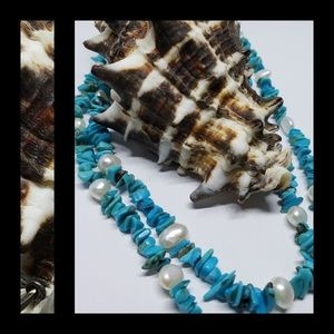 Chip Turquoise & Freshwater Pearl Necklace